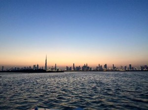 Dubai sunset wakeboarding